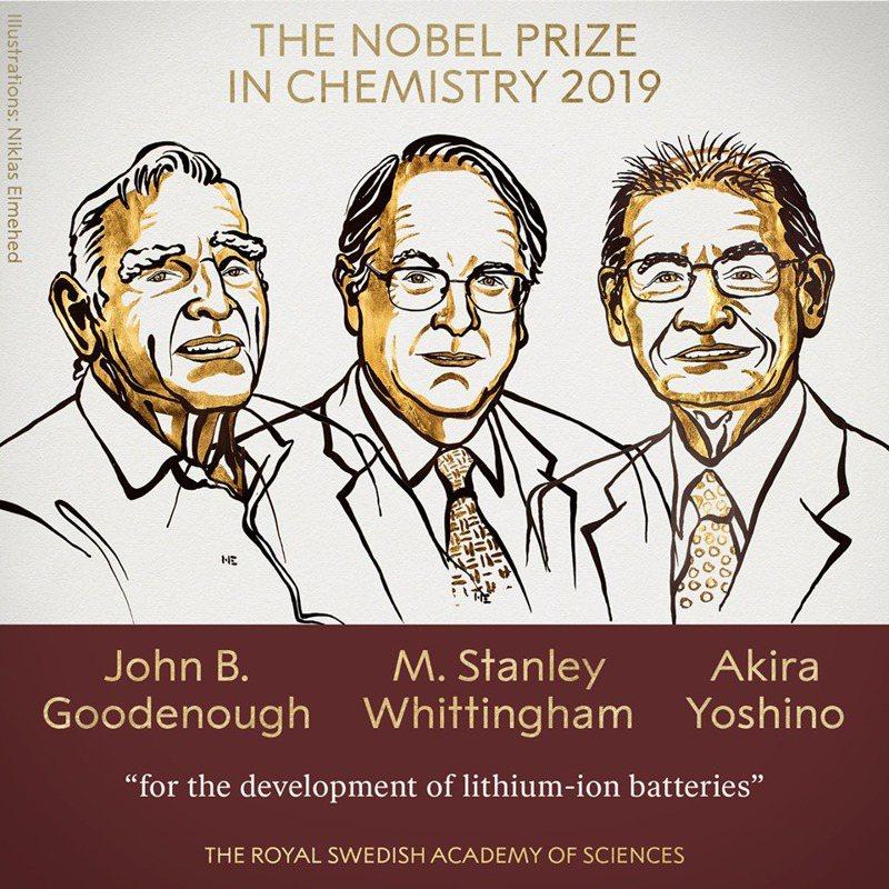 諾貝爾化學獎得主古德諾(左至右)、惠廷安和吉野彰。(取自諾貝爾官網)
