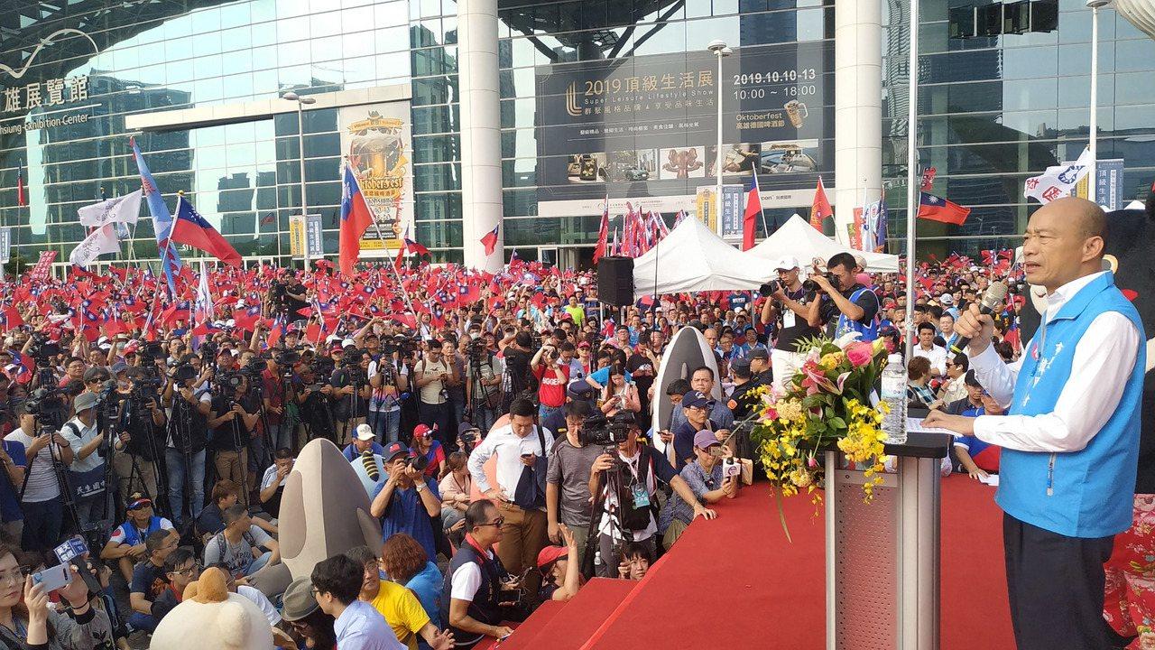 高雄市長韓國瑜上午參加高雄市府升旗典禮。記者劉學聖/攝影