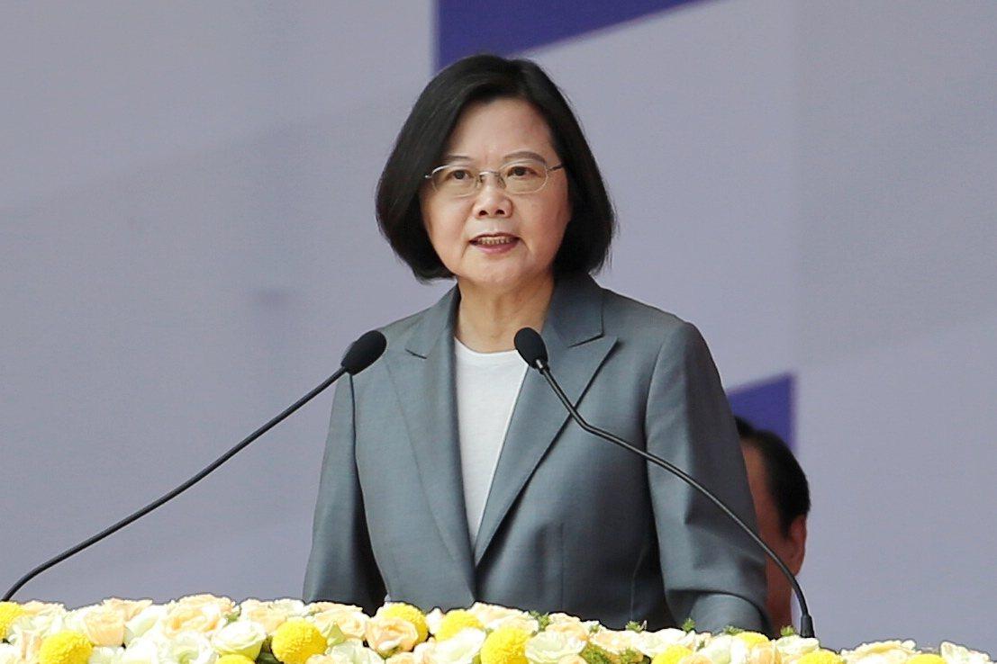 中華民國108年國慶大會上午在總統府前舉行,蔡英文總統致詞。 記者林伯東/攝影