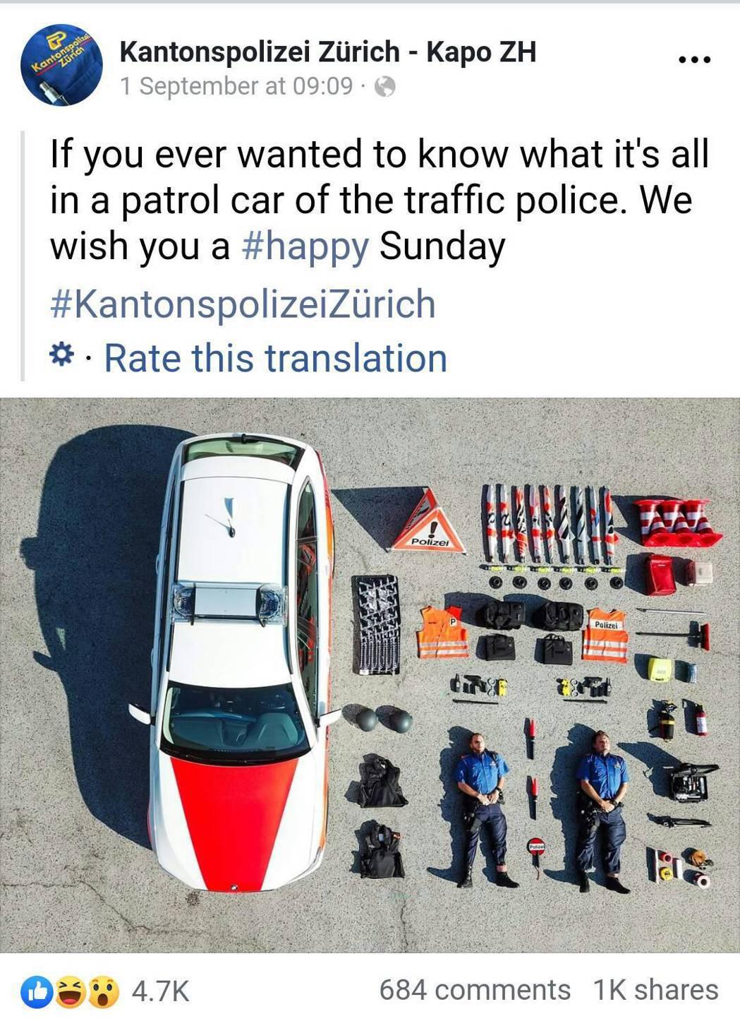 上月1日瑞士蘇黎世州警局臉書貼出裝備開箱照,警方沒想到竟然掀起國際跟拍風潮。圖取...
