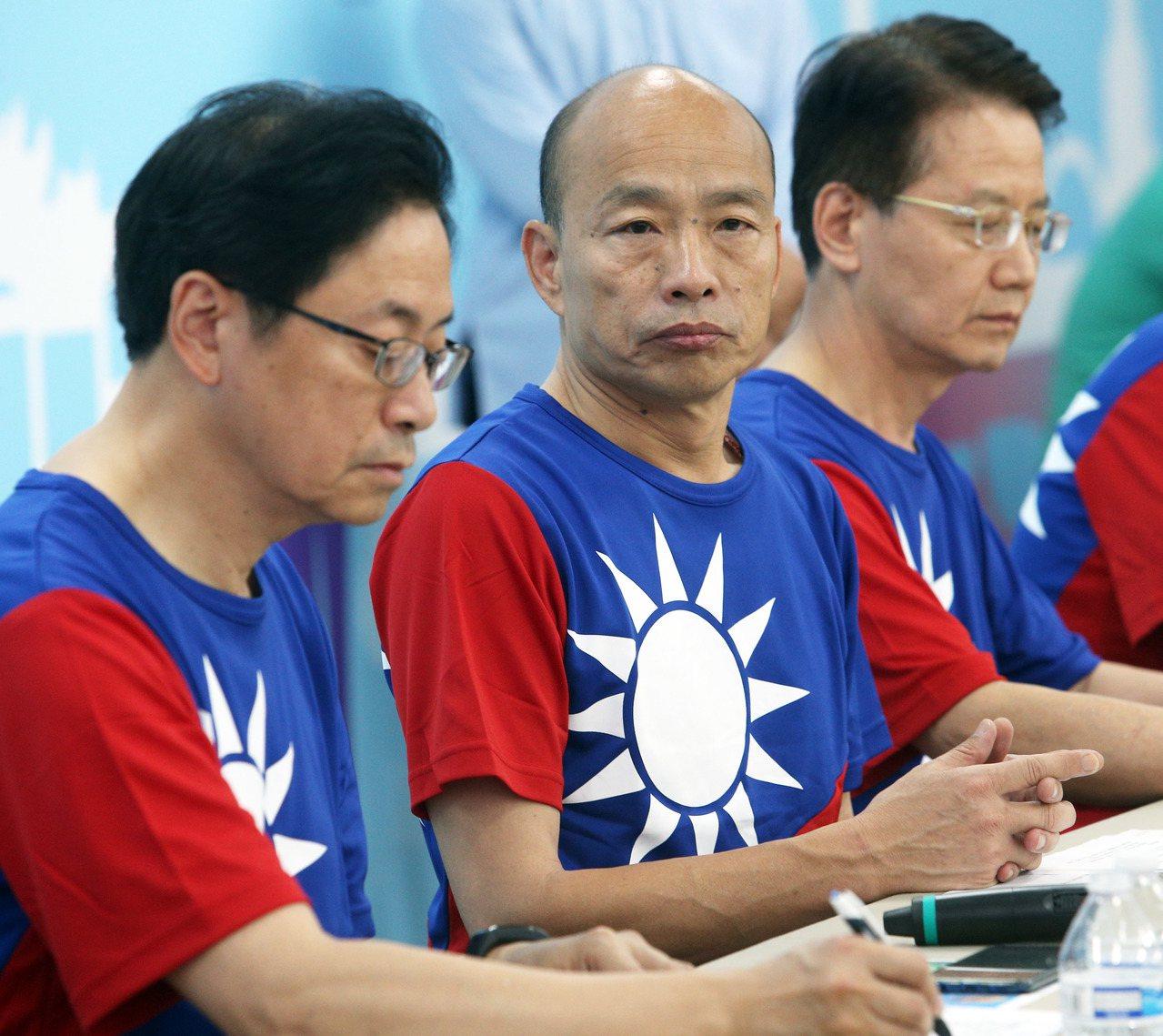 國民黨總統參選人韓國瑜(中)。記者劉學聖/攝影