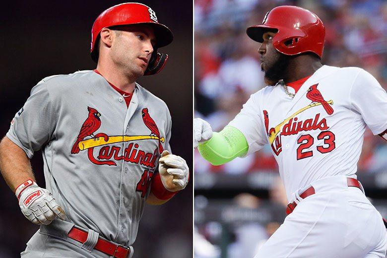 紅雀中心打者高史密特(左)和歐蘇納(右)在對勇士系列戰都有.429的高打擊率,但...