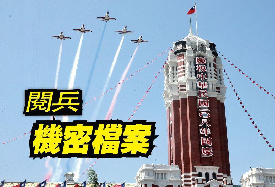 今年國慶由經國號戰機、雷虎小組AT3教練機壓軸,分別以5機大雁隊形的空中分列式通...