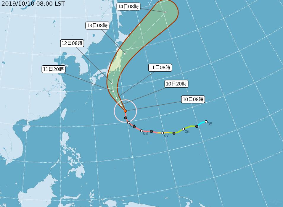 強烈颱風哈吉貝將影響日本。圖/取自氣象局網站