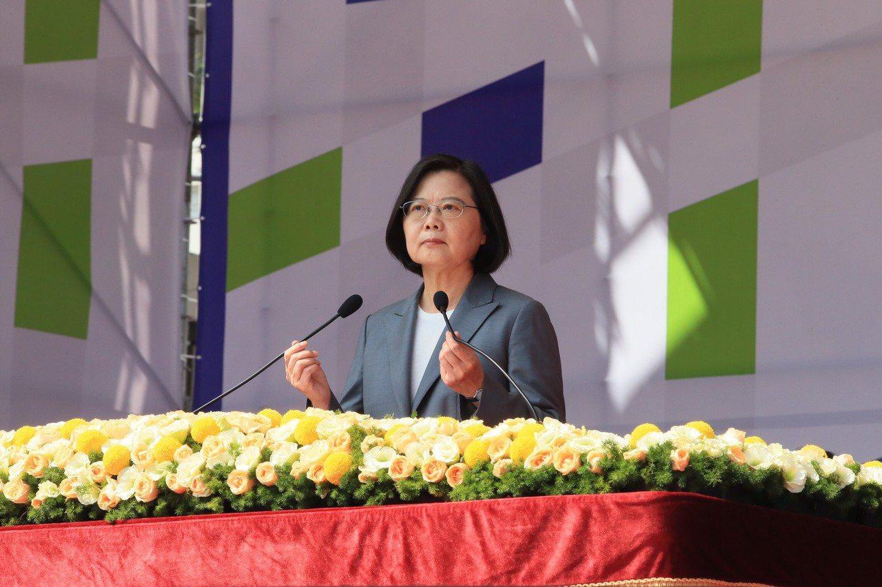 蔡英文總統上午出席在總統府前舉行的雙十國慶大會。記者潘俊宏/攝