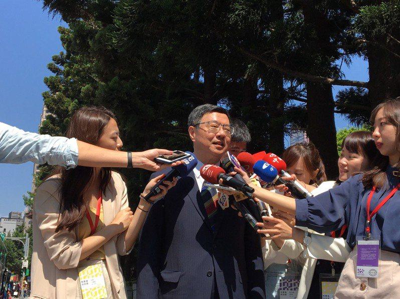 民進黨主席卓榮泰今早參與國慶大會後接受媒體訪問。記者周佑政/攝影