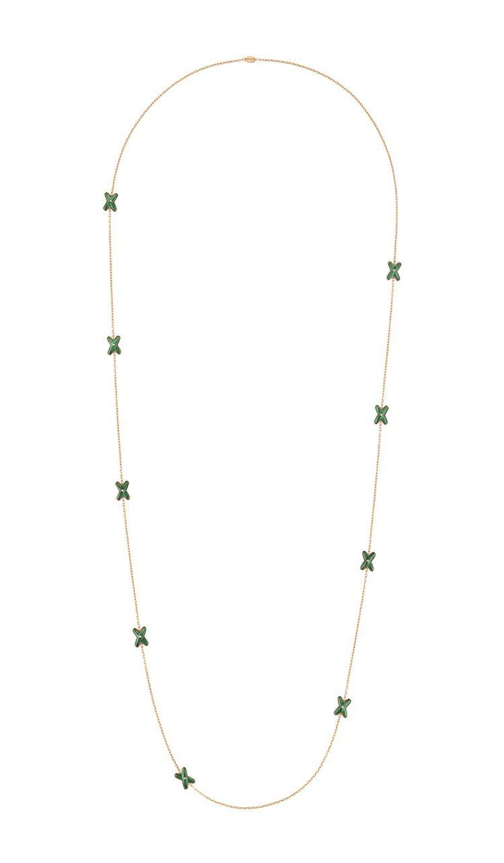 Chaumet Jeux de Liens長項鍊,18K玫瑰金,鑲鋪孔雀石與明亮...