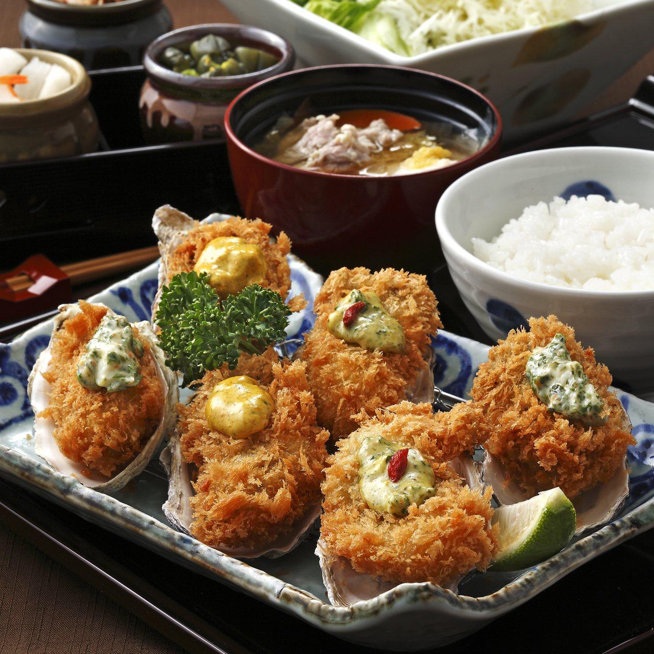 勝政豬排推出「酥炸廣島牡蠣佐三色醬」等一系列新品。圖/勝政豬排提供