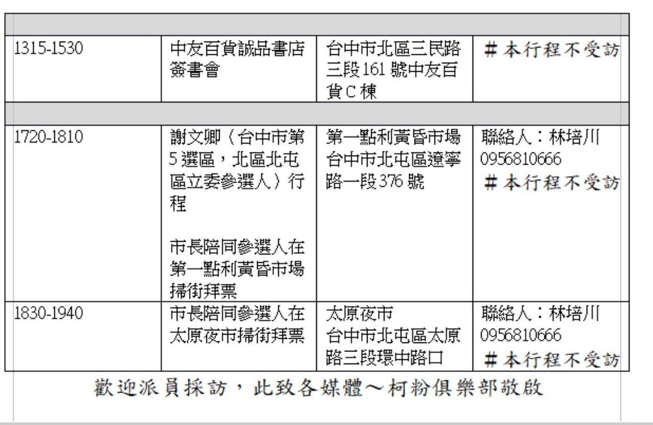 民眾黨主席、台北市長柯文哲預計13日傍晚,將陪同台中市第五選區(北北屯)立委參選...