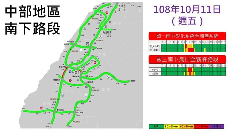 明天中部地區南下尖峰路段。圖/高公局提供