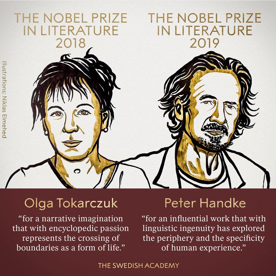 諾貝爾文學獎2018年得主波蘭作家奧爾嘉.朵卡萩(左),2019年得主奧地利作家...