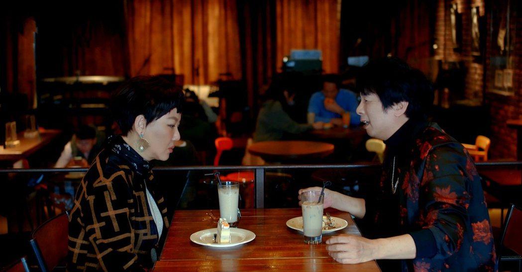 曹西平(右)和藍心湄拍攝第一場戲時,在咖啡廳吃蛋糕吃到要吐了。圖/拙八郎提供