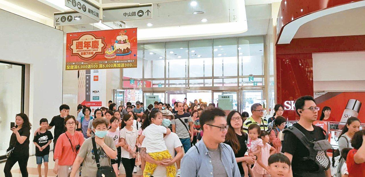 環球購物中心周年慶首日在雙十連假第一天,一早開館即湧現人潮。 圖/環球購物中心提...