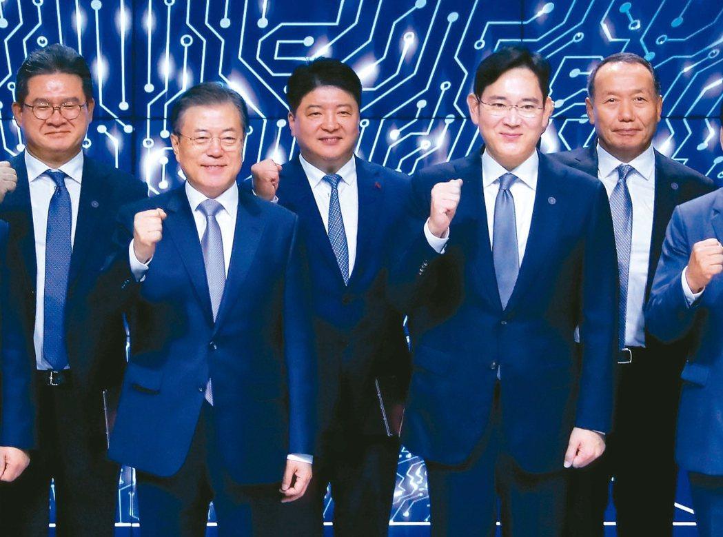 三星顯示器舉行亞洲工廠的投資簽署儀式,邀請南韓總統文在寅(前排左)出席,與三星電...