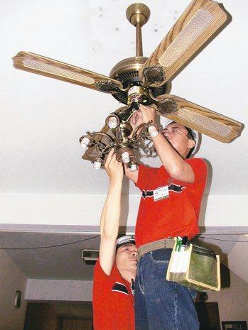 吊扇易積灰塵,也潛藏著墜落的風險。 圖/聯合報系資料照片