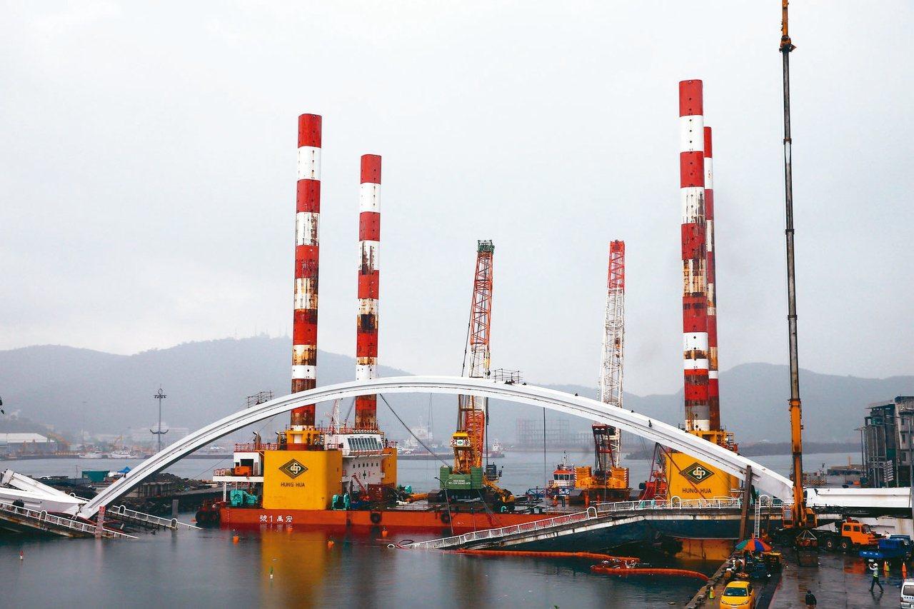全國最大、萬噸級的海上作業平台船宏禹一號,靠近南方澳大橋邊就定位。 圖/聯合報系...