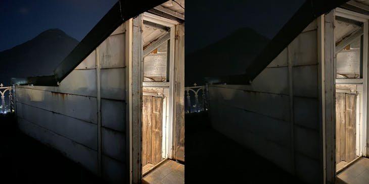 開啟夜拍模式曝光三秒(左)與關閉夜拍模式(右)之間的差異