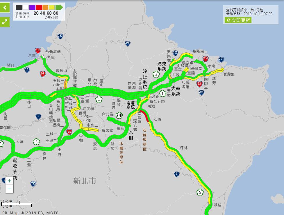 上午7時路況,國5南港系統-石碇南向路段壅塞,時速低於31公里。國5石碇-頭城南...