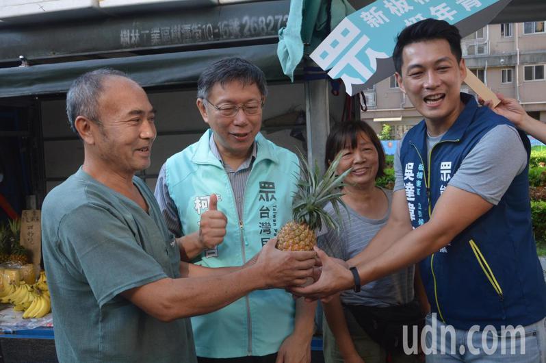 台北市長柯文哲(左二)今早陪台灣民眾黨提名立委參選人吳達偉(右一)在板橋市場掃街,攤商送上鳳梨預祝當選。記者施鴻基/攝影
