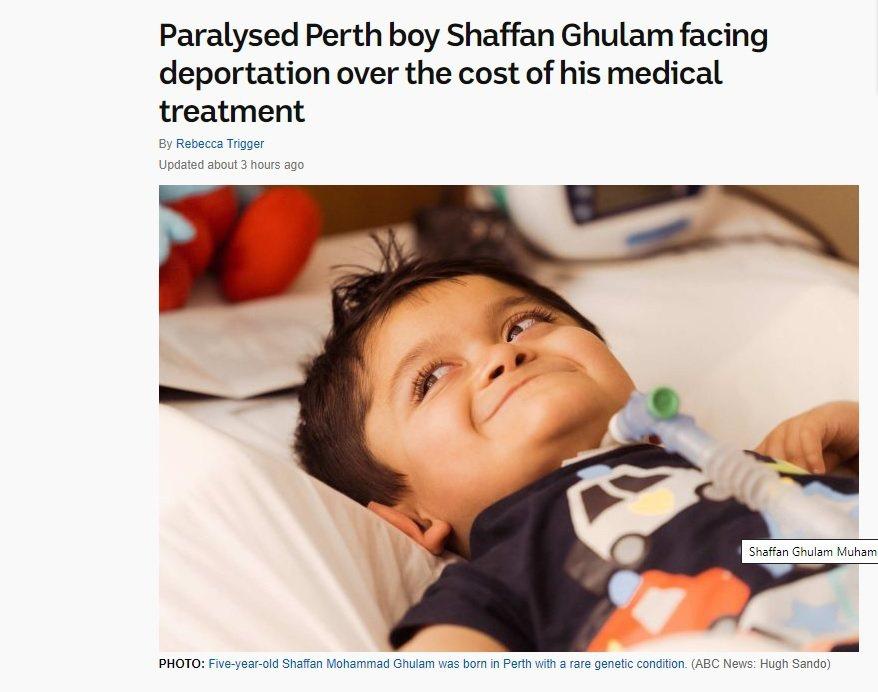 一對巴基斯坦夫婦申請澳洲永久居留權,但澳洲政府認為,他們的5歲重症兒子會花太多醫...