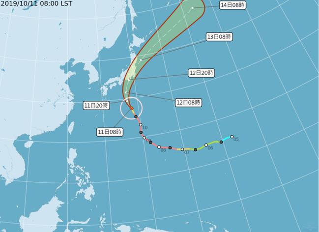 颱風哈吉貝往日本方向前進。圖/取自中央氣象局網站