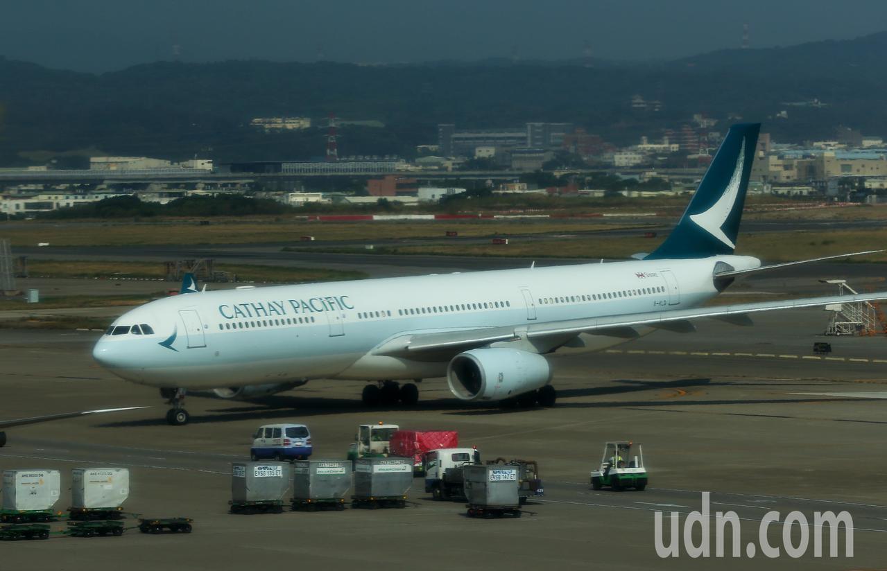中颱哈吉貝影響,國泰航空明天有4航班延後起飛。本報資料照片