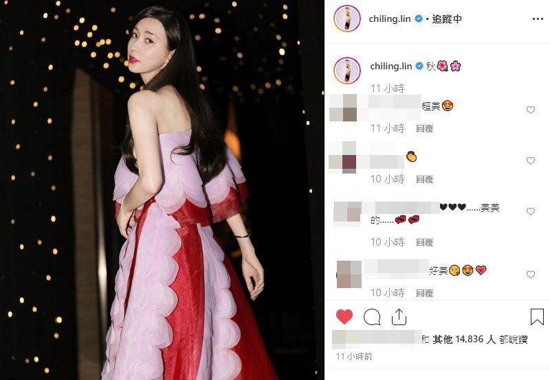 林志玲在IG秀出美照,並貼上兩朵花的表情符號。圖/摘自IG