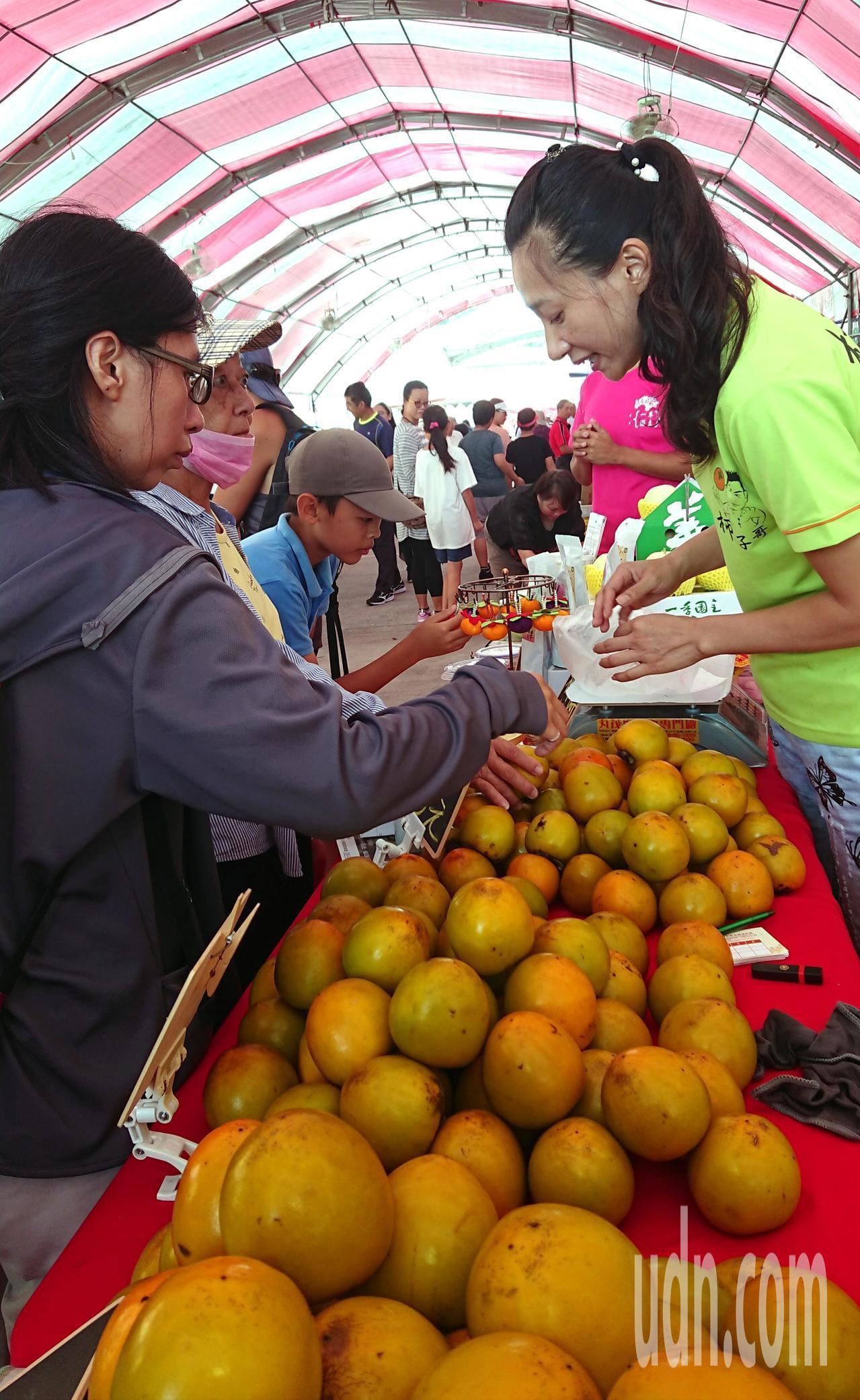 果農大方提供柿子給遊客試吃。記者卜敏正/攝影