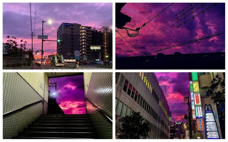 來勢洶洶的哈吉貝被NHK列為大型颱風,強度屬「非常強」,瞬間風速可達每秒60公尺,暴風圈直徑達到驚人的700公里,影響地區甚廣。11日時,日本各地都有網友拍下颱風來襲前的紫色天空。Twitter/@BlakeMist