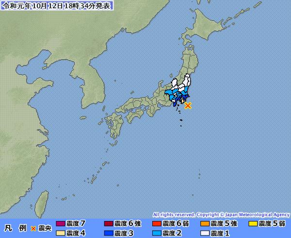 日本關東地區12日傍晚發生規模5.7地震。(取自日本氣象廳)