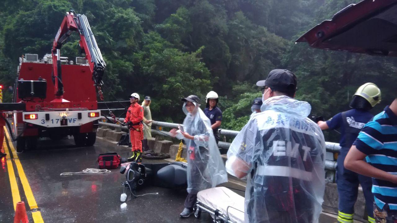 賴男機車摔在橋邊,人墜落橋下。圖/讀者提供