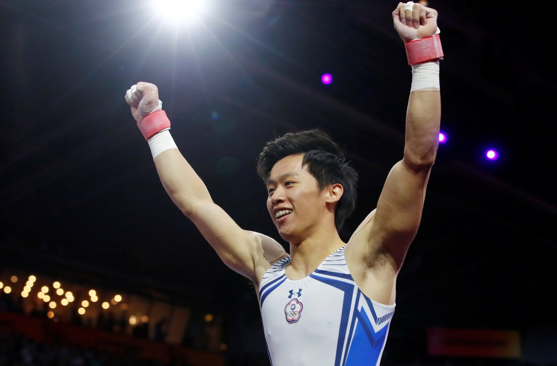 台灣「鞍馬王子」李智凱在世界體操錦標賽鞍馬馬項目摘下銀牌。 路透社