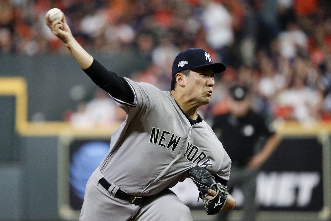 洋基隊日籍投手田中將大不負「季後賽王牌」稱號,繳出6局無失分好投。 美聯社