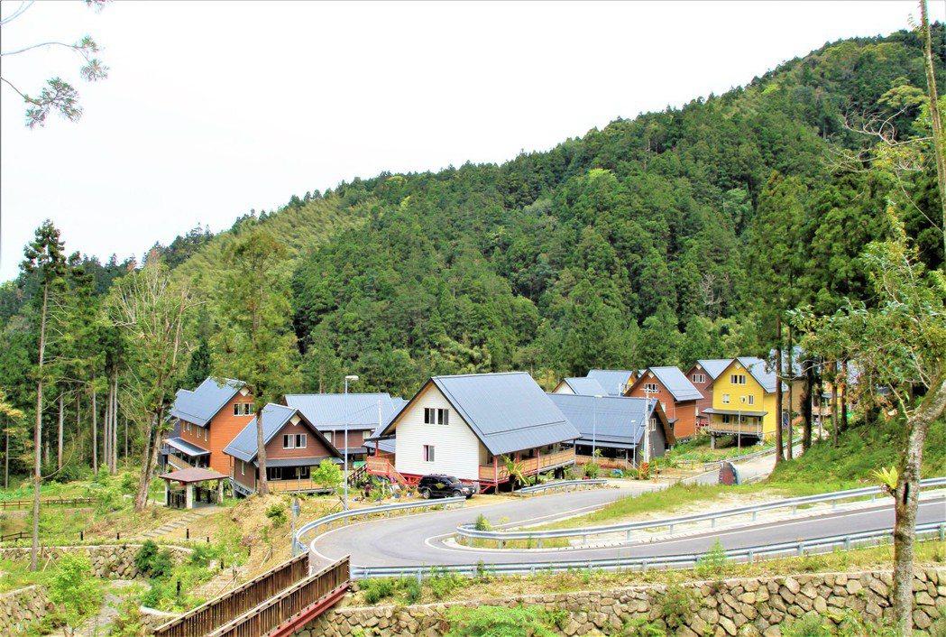 「得恩亞納」42戶斜屋頂式小木屋色彩繽紛。記者卜敏正/攝影