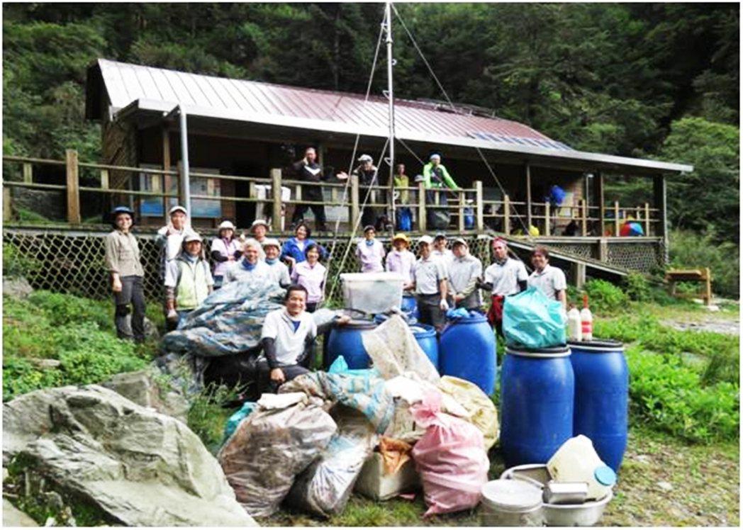 台東林管處105年舉辦嘉明湖淨山,清出8百多公斤垃圾。圖/台東林管處提供