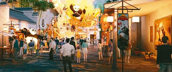 北京環球度假區公布七大主題景區入駐,全球首見「功夫熊貓主題區」。 澎湃新聞