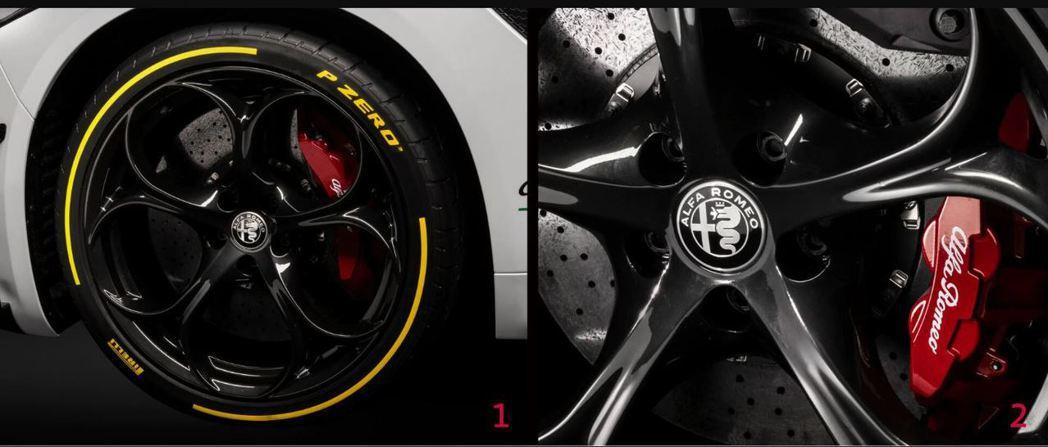 19吋P ZERO輪胎搭配碳纖維陶瓷煞車系統。 摘自Alfa Romeo