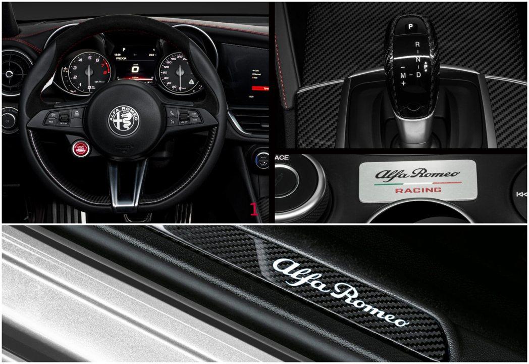Alcantara與真皮混合方向盤、全內裝碳纖維飾版、還有Alfa Romeo ...