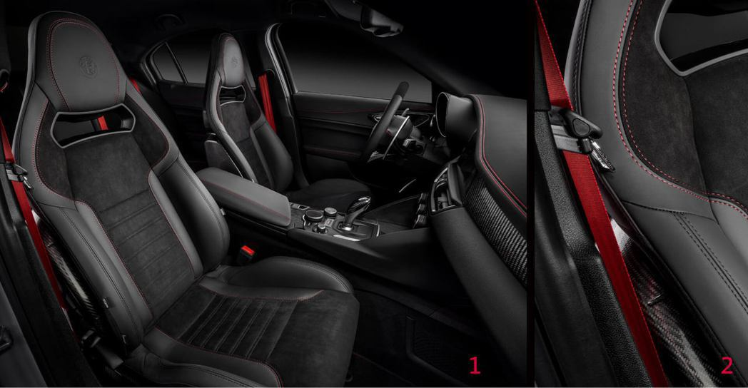 1.Sparco碳纖維跑車桶椅2.競技氛圍紅色安全帶。 摘自Alfa Romeo