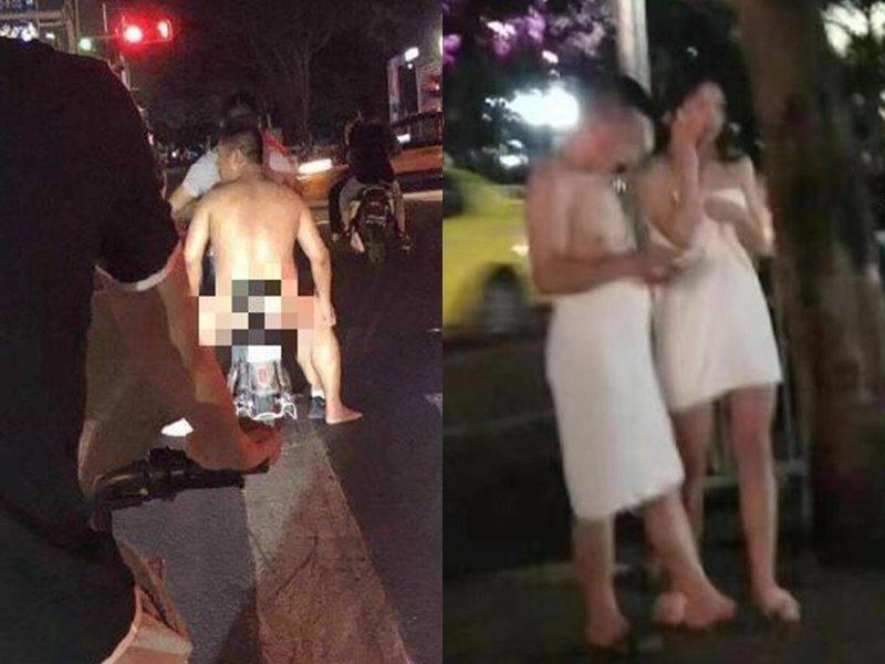 民眾全裸裹浴巾逃命。取自星島網
