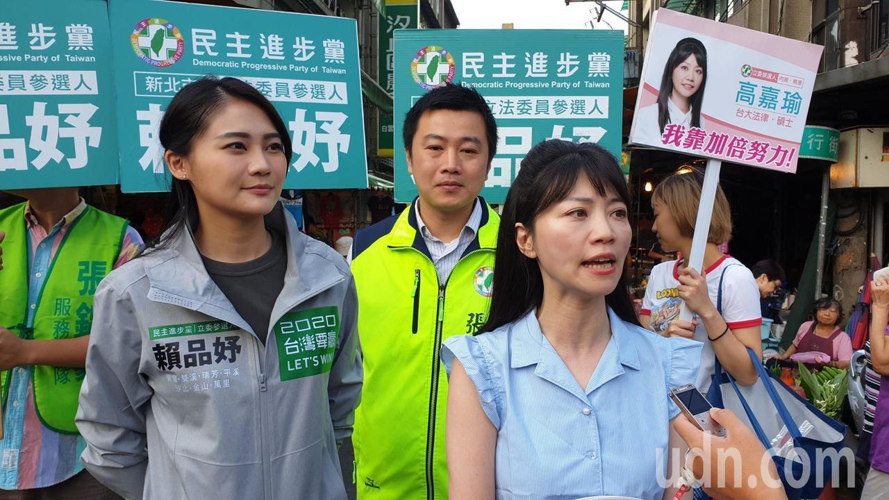 港湖女神高嘉瑜(右)表示,未來進入國會將努力爭取捷運汐止民生線預算,讓民眾生活更...