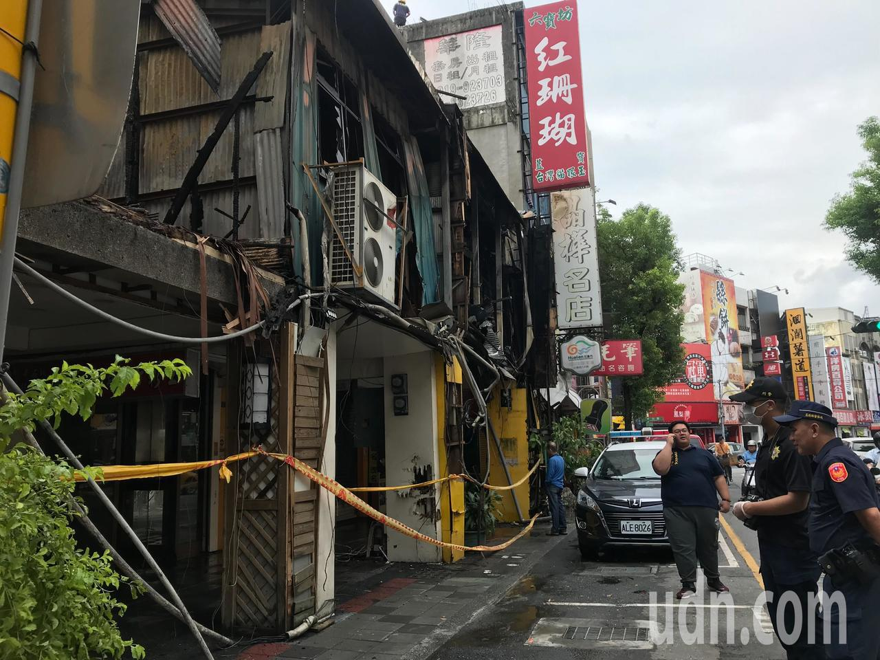 花蓮市公園路上昨天發生火災,許多店家財損嚴重。記者王思慧/攝影
