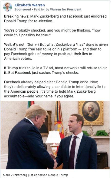 美國麻州參議員華倫10日起在臉書刊登一則名為「突發新聞」的廣告,廣告中稱臉書創辦...