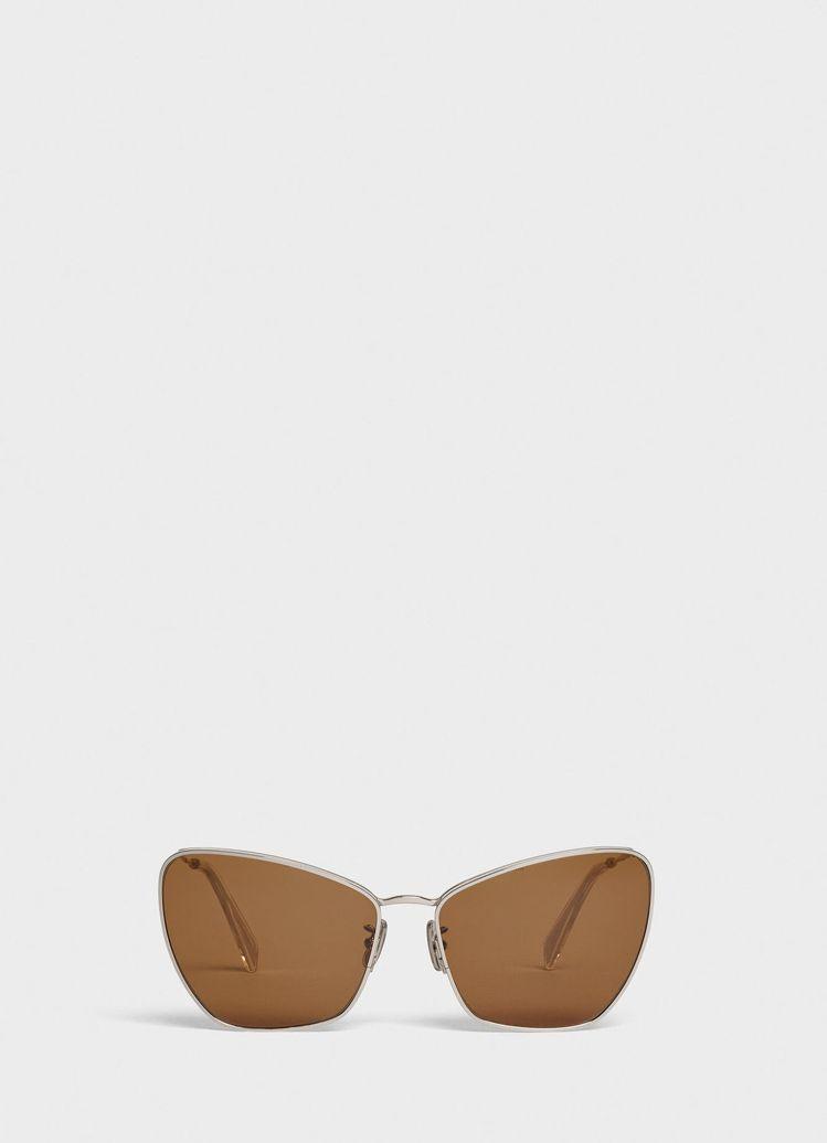 CELINE BUTTERYFLY系列金屬框茶色墨鏡12,100元。圖/CELI...
