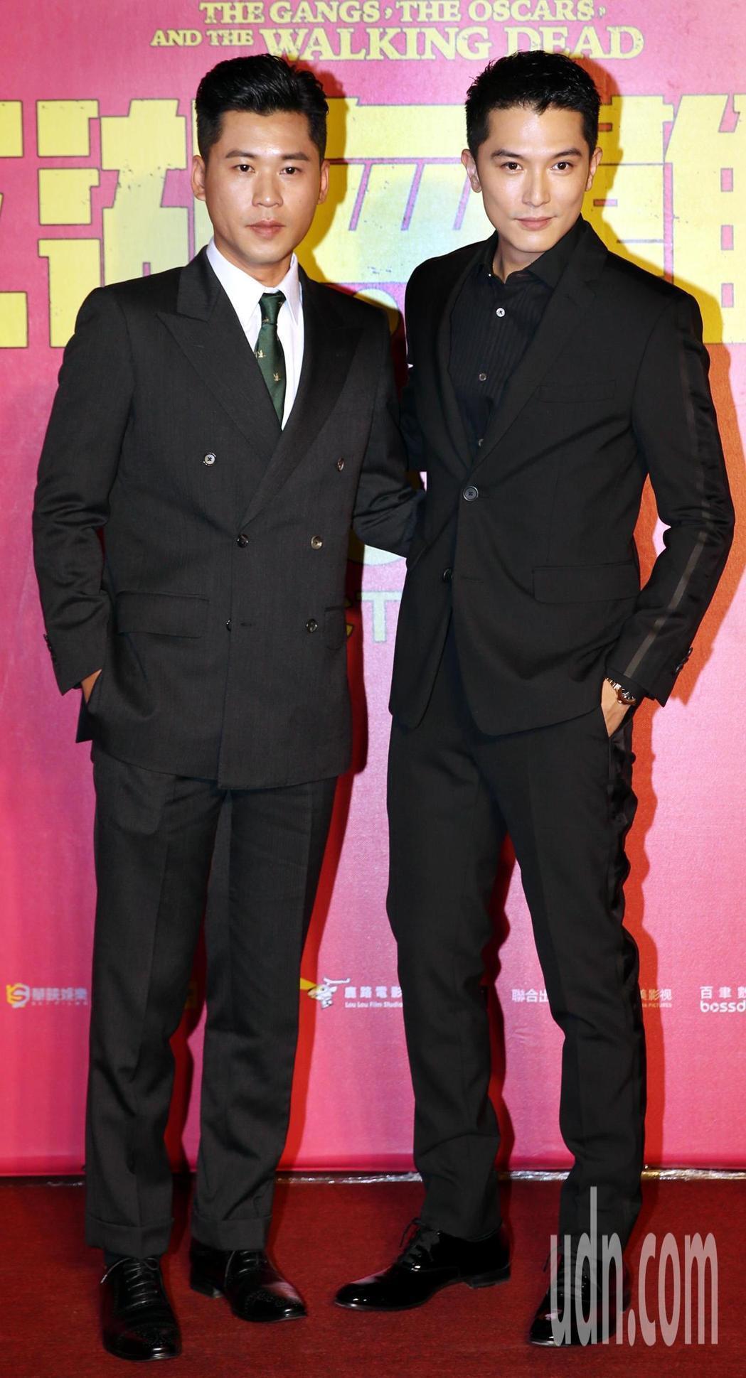 邱澤以黑西裝出席「江湖無難事」台北首映會。圖/聯合報資料照