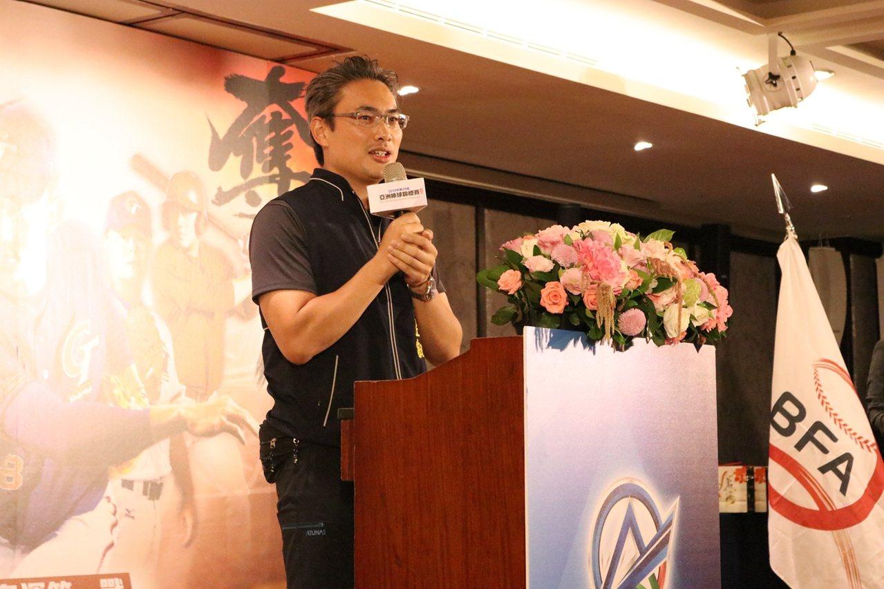 台中市運動局局長李昱叡代表市府歡迎各隊蒞臨台中。圖/中華棒球協會提供