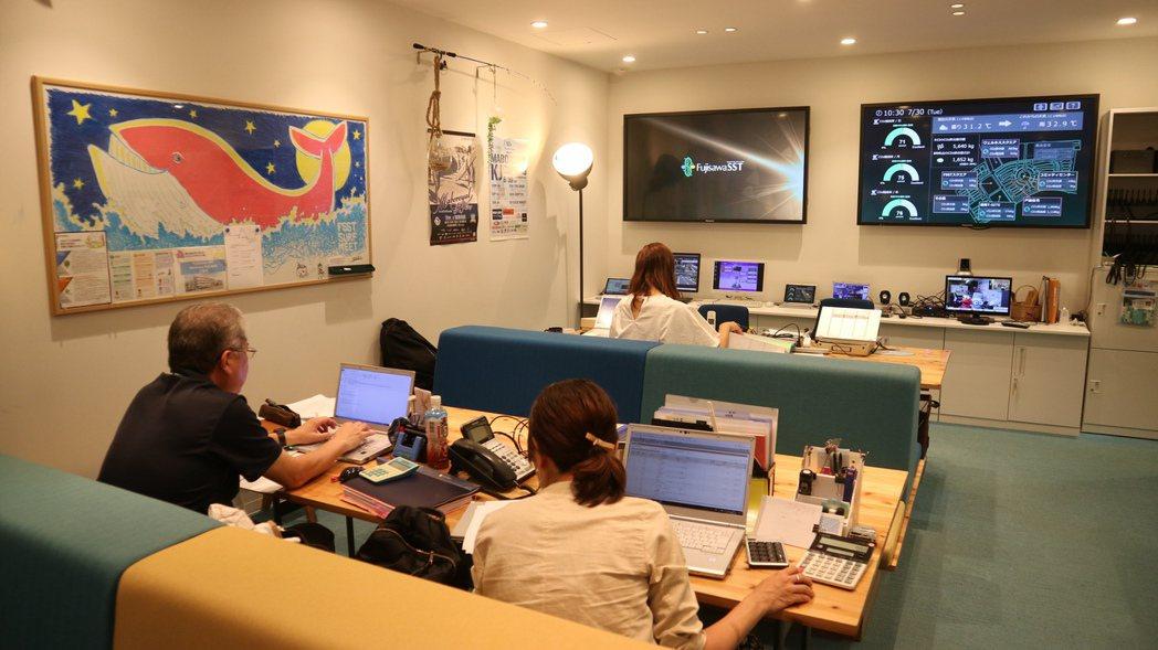 藤澤永續智慧社區中央管控中心的大螢幕,隨時監測用電狀況。東京記者蔡佩芳/攝影