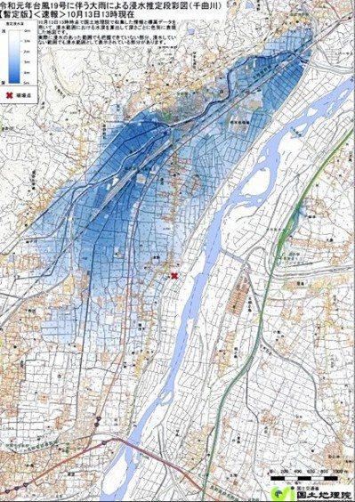 日本國土地理院公布的長野市和千尋町因洪水引起的淹沒估計圖。圖擷自讀賣新聞