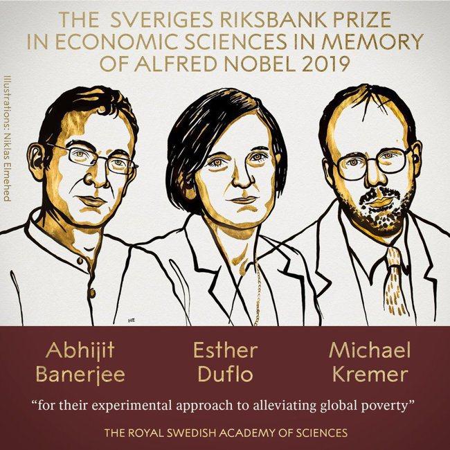 諾貝爾經濟學獎由三人共得。 圖╱諾貝爾獎官方推特
