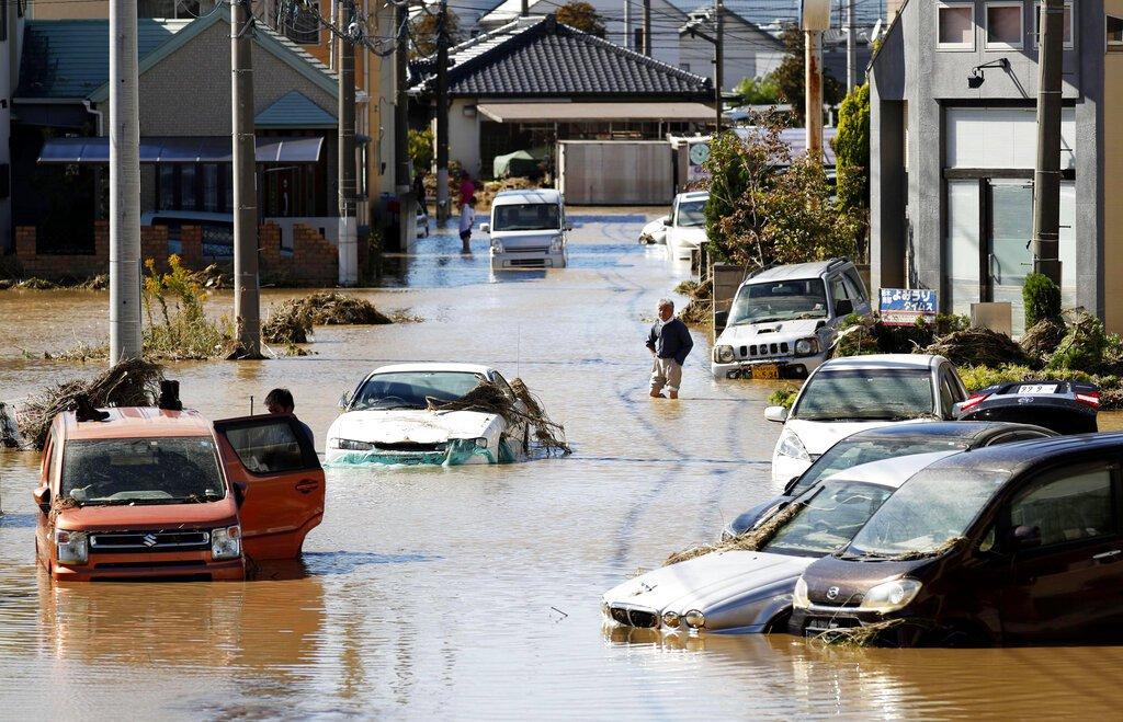 哈吉貝颱風侵襲日本,造成嚴重傷亡。 美聯社